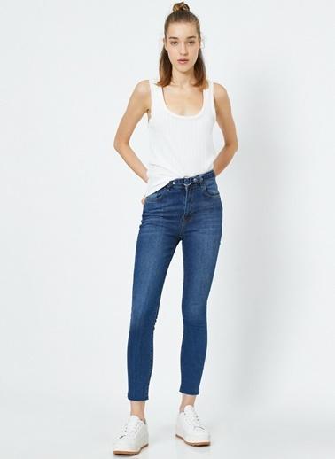 Koton Koton Carmen Yüksek Bel Denim Pantolon Lacivert